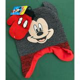 Disney Accessories | Disney'S Mickey Mouse Toddler Boy Hatmittens Set | Color: Black/Red | Size: Osb