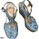 Anthropologie Shoes | Anthropologie Anticline Leather Platform Wedges | Color: Blue/Gray | Size: 8