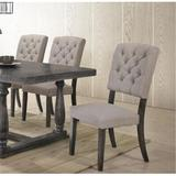 Red Barrel Studio® Delene Tufted Side Chair Wood/Upholstered in Gray/Black/Brown, Size 40.0 H x 18.0 W x 18.0 D in | Wayfair