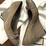Gucci Shoes | Gucci Taupe Suede Wedge Euc Patent Heel 398.5 | Color: Tan | Size: 8.5