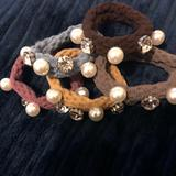 Anthropologie Accessories | 2$30 Sale! Pearls Crystals Ponytail Scrunchie Set | Color: Blue/Brown/Pink | Size: Os