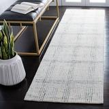 Sand & Stable™ Eden Plaid Handmade Tufted Cotton/Wool Ivory/Area Rug Cotton/Wool in Gray, Size 27.0 W x 0.2 D in   Wayfair