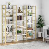"""17 Stories Perran 69.29"""" H x 70.86"""" W Iron Etagere Bookcase in Yellow, Size 69.29 H x 70.86 W x 12.59 D in   Wayfair"""