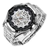 Mechanical Skeleton Watch, Big Face Automatic Watches for Men, Unique X Dial Luminous Mens Sport Watches, Waterproof Analog Business Wrist Watches with Stainless Steel Watch Bands, Silver