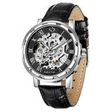 Mens Mechanical Wrist Watch, Skeleton Watches for Men, Men Automatic Steampunk Self Winding Watches, Casual Leather Bands Dress Watches with Roman Numerals Dial, Black