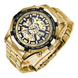 Mechanical Skeleton Watch, Big Face Automatic Watches for Men, Unique X Dial Luminous Mens Sport Watches, Waterproof Analog Business Wrist Watches with Stainless Steel Watch Bands, Gold