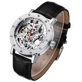 Mechanical Skeleton Watches for Men, Unique Carving See Through Watches, Automatic Self Winding Wrist Watch for Men, Black Leather Steampunk Men Watches