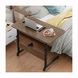 Foldable Laptop Stand Laptop Cart Overbed Laptop Table Adjustable Height with 2 Layers Storage Shelves Hospital Bed Dining Table with Castors (Color : Black Oak Color 8040)