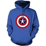 Captain America Hoodie Marvel Comics Official Classic Movie Pullover Sweatshirt Royal Blue