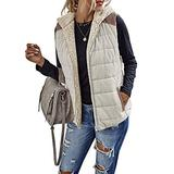 Eurivicy Women's Lightweight Padded Sherpa Fleece Reversible Vest Colorblock Zip Up Sleeveless Hooded Jacket with Pockets