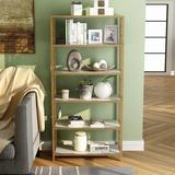 """Everly Quinn Israr 62.37"""" H x 30"""" W Steel Etagere Bookcase in Brown/Yellow, Size 62.37 H x 30.0 W x 13.0 D in   Wayfair"""