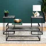 3-Piece Box Metal Table Set in Dark Concrete - Walker Edison GC40SWI3PDC