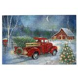 Jigsaw Puzzles 1000 Pieces For Adults Red Truck Carry Christmas Tree Jigsaw Puzzle Table Games Wooden Puzzle Educational Intellectual Game Puzzle Toys Gifts For Teens Kids Women Men