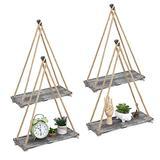 LIANTRAL Hanging Shelves, Set of 4 Floating Wood Wall Shelves Rustic Hanging Swing Rope Shelves Plant for Bedrooms Living Room, Gray Whitewash