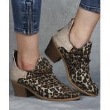 RXFSP Women's Casual boots Leopard - Beige Leopard Side Cutout Ankle Boot - Women