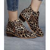 Heli Women's Casual boots Leopard - Beige & Black Leopard Ankle Boot - Women