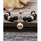 Willowbird Women's Bracelets Yellow - Glass Stone & 18k Gold-Plated Cross 'Faith' Beaded Bracelet