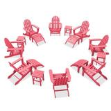 Sol 72 Outdoor™ Willia Plastic Folding Adirondack Chair w/ Ottoman & Table Plastic/Resin/Recycled Plastic/Plastic in Pink   Wayfair
