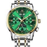 Automatic Mens Watch Self Winding Mechanical Luxury Dress Wrist Watch Moon Phase Waterproof Luminous Calendar Stainless Steel Watches Gift