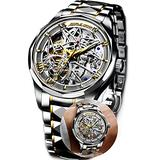Men's Watch Mechanical Stainless Steel Skeleton Watch Waterproof Hollow Self Winding Watch for Men Military Silver Automatic Watch movment Wrists Watches Luxury Business Watch Men's Dress Watch Men