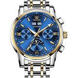 Automatic Mens Watch Self Winding Mechanical Luxury Dress Wrist Watch Moon Phase Waterproof Luminous Stainless Steel Watches for Men Male