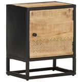 "vidaXL Bedside Cabinet with Carved Door 15.7""x11.8""x19.7"" Rough Mango Wood"