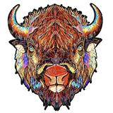 Malbaba Wooden Jigsaw Puzzles - Unique Irregular Bison Jigsaw Puzzle Pieces - Learning Educational Board Game Toy for Boys Girl