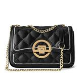 LAORENTOU Quilted Handbags for Women Cowhide Leather Chain Purses Ladies Small Shoulder Crossbody Bags with Chain Strap (Black 2)