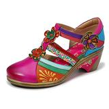 CrazycatZ Leather Mary Jane Shoes,Womens Colorful Block Heel Pumps Vintage Mary Jane Shoes Pumps (Pink, Numeric_9)