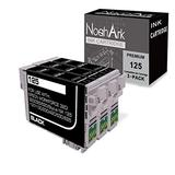 NoahArk 3 Packs T125 Remanufactured Ink Cartridge Replacement for Epson 125 use for Epson Stylus NX125 NX127 NX230 NX420 NX530 NX625 Workforce 320 323 325 520 Printer (3 Black)