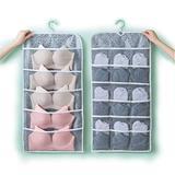SweedyHome Closet Hanging Organizer with Mesh Pockets & Rotating Metal Hanger,Dual Sided Wall Shelf Wardrobe Storage Bags,Oxford Cloth Space Saver Bag for Bra Underwear Underpants Socks