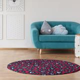 East Urban Home Animal Print Red/Navy/White Area Rug Polyester in Blue/Red/White, Size 60.0 H x 60.0 W x 0.25 D in   Wayfair