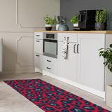 East Urban Home Animal Print Red/Navy/Gray Area Rug Polyester in Blue/Gray/Red, Size 96.0 H x 30.0 W x 0.25 D in   Wayfair