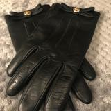 Coach Accessories | Coach Leather Wool Turnlock Black Gloves Size 8 | Color: Black/Tan | Size: 8