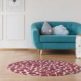 East Urban Home Animal Print White/Red/Gray Area Rug Polyester in Gray/Red, Size 60.0 H x 60.0 W x 0.25 D in   Wayfair