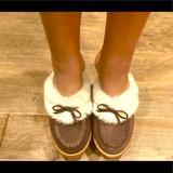Jessica Simpson Shoes | Jessica Simpson Fur Lined Clogs | Color: Brown/White | Size: 8.5