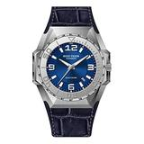 Reef Tiger Men Dive Watches Steel Automatic Watch Military Watches Leather Strap RGA6903 (RGA6903-YLL)