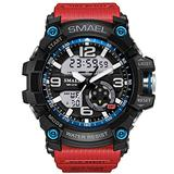 MASTOPMen's Analog Sports Watch, Waterproof LED Military Wrist Watch Large Dual Dial Digital Outdoor Watches Heavy Duty Electronic Simple Army Watch with Alarm, Stopwatch, Luminous (red)