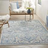 """Nourison Elation Persian Floral Traditional Ivory Blue 8' Runner Area Rug , 2'3"""" x 7'6"""""""