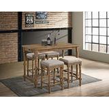 Best Master Furniture Pub Eva 5 Pcs Transitional Counter Set, Natural Oak