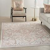 """Nourison Elation Persian Floral Traditional Ivory Brick 8' Runner Area Rug , 2'3"""" x 7'6"""""""