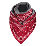 Beashion Accent Scarves C001 - Red Paisley Triangle Scarf