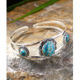 YS Gems Women's Bracelets Blue - Copper Turquoise & Sterling Silver Cuff