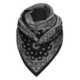 Beashion Accent Scarves C015 - Black Paisley Triangle Scarf