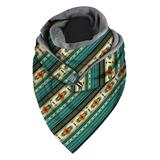 Beashion Accent Scarves C010 - Teal & Yellow Geometric Stripe Triangle Scarf