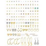 Udalyn 80 Pairs Assorted Stud Earrings for Women Set Cute Star Moon heart CZ Ball Faux Earring Studs Gold Hoop Dangle Earring Pack Multiple Small Stud Earrings Set
