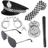 Police Costume Accessories Hat Handcuffs Policeman Badge Cop Swat FBI Cosplay