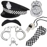 Beelittle Police Costume Accessories Police Hat Handcuffs Policeman Badge Police Officer Dress Up Costume Accessories for Cop Swat FBI Costume Party Halloween Role Play (Black 2)