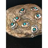 "Turquoise Silver Bear Paw Link Shadow Box Bracelet 7.5"" 8521 FS-1642"