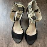Michael Kors Shoes | Michael Kors Snakeskin Open Toe Heels-Ankle Strap | Color: Black/Gray | Size: 9.5